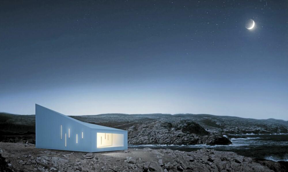 """SER DU SYNER? Illustrasjonen viser hvordan planlagte hvite """"Squish Studio"""" lyser magisk i nattemørket, nesten som en lampe."""