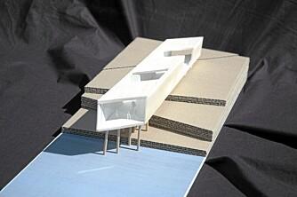 """FRITT SVEV: """"The Long Studio"""" svever i løse lufta. Her ser du hvordan huset er bygget opp med mange utradisjonelle åpninger mot naturen."""