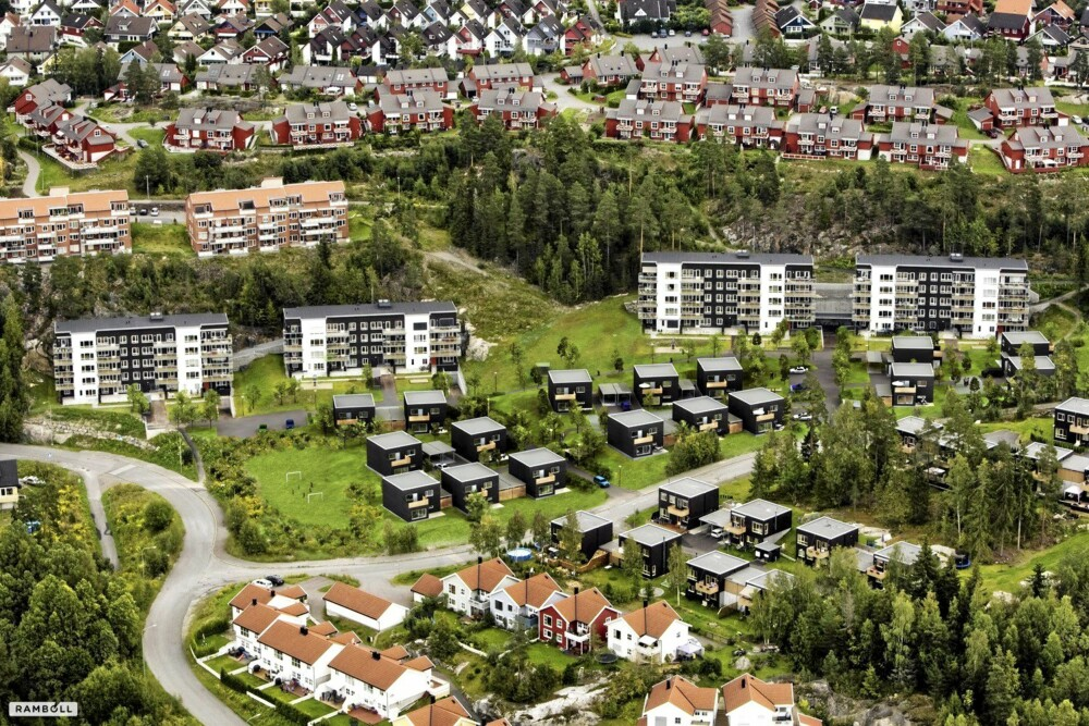 Oversikt over de sytten passivhusene Rudshagen Borettslag Mortensrud OBOS. Dette er det første feltet med passivhus i Oslo. Boligene er plassert i tre grupper og med terrasser og balkonger mot vest.
