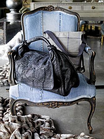 HØSTENS TREND: Motetrend og interiør går gjerne hånd i hånd. Her er et eksempel fra Ceannis der stolen er trukket i jeans, og vesken har et tidsriktig rutemønster.