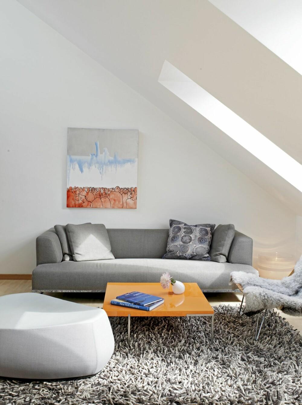 ENKELT MØBLERT: Stuen åpner seg mot allrommet og er innredet med få, men tydelige møbler. Sofaen er fra B & B Italia, bordet fra Floreani. Maleriet er et elevarbeid av en norsk kunststudent.
