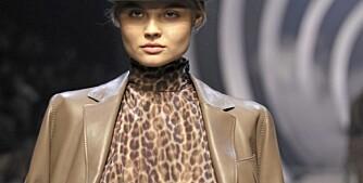 PÅ CATWALKEN: Mange designere viste frem klær med leopardprint da de hadde visninger tidligere i år.