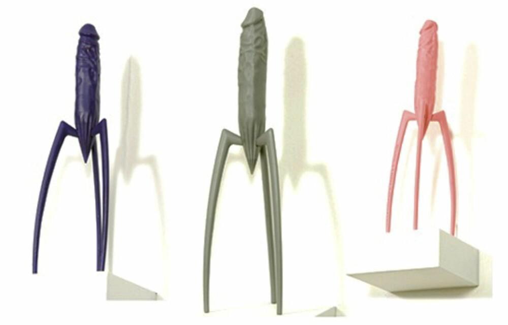 DESIGNSTUDENTENES SITRONPRESSE: Dette var designstudentenes løsning på Philippe Starcks utfordring. En humoristisk variasjon over designkongens egen sitronpresse.