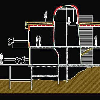 SNITT: Her ser du hvordan våtromskjernen går gjennom alle tre etasjer.