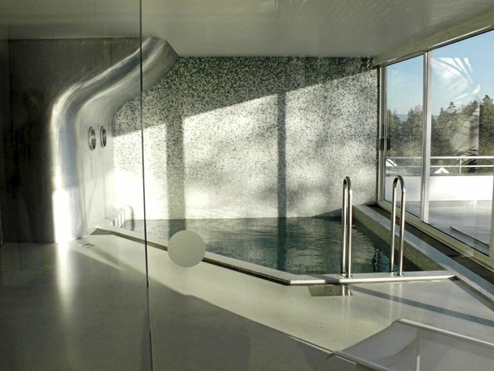 HOPP I DET: Også badebassenget har fått en stimulerende, organisk form.
