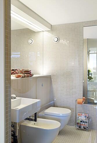 ROLIG PREG: For ikke å gi badekaret og soverommet kamp om oppmerksomheten er selve badet nøytralt innredet.