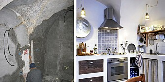 FØR OG ETTER: Kjøkkenet er bygget opp fra bunnen av.