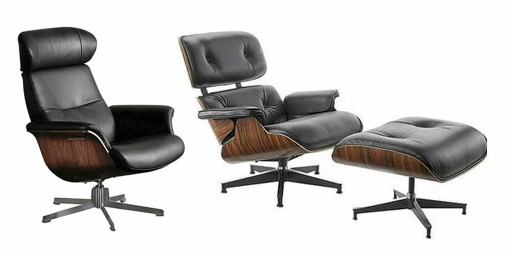 BILLIG OG DYR: Time-out stolen fra Bohus til venstre. Den legendariske Eames lounge chair til høyre.