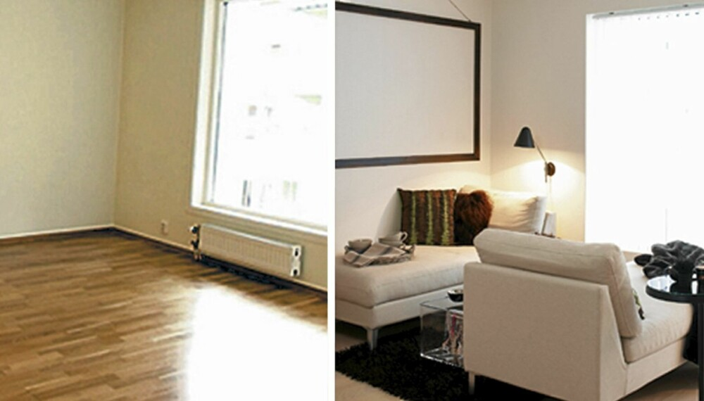 FØR OG NÅ: En strippet blokkleilighet var utgangspunktet for det som endte opp som en lys og minimalistisk leilighet for to.