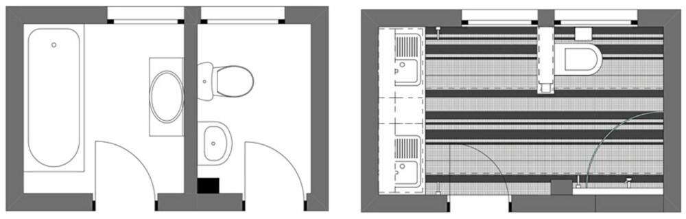 FØR OG ETTER: Bad og toalett lå i tilstøtende rom og ble slått sammen til ett større baderom. Badekaret ble ofret.