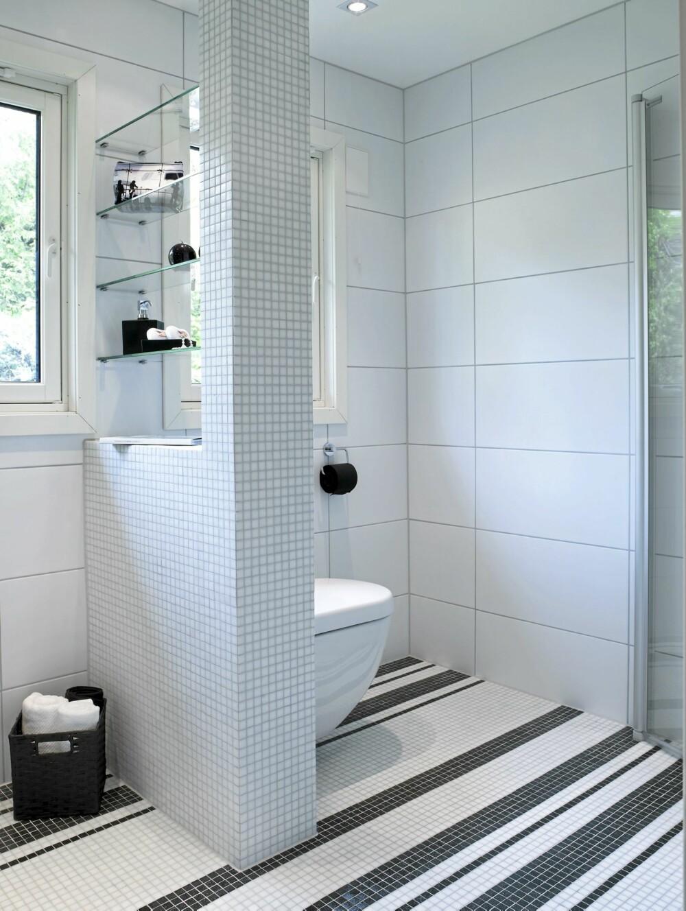 SKILLEVEGG: Toalettet er festet på den halve skilleveggen. Slik blir ikke toalettet så fremtredende på det nye baderommet. Sisternen er plassert inne i skilleveggen.