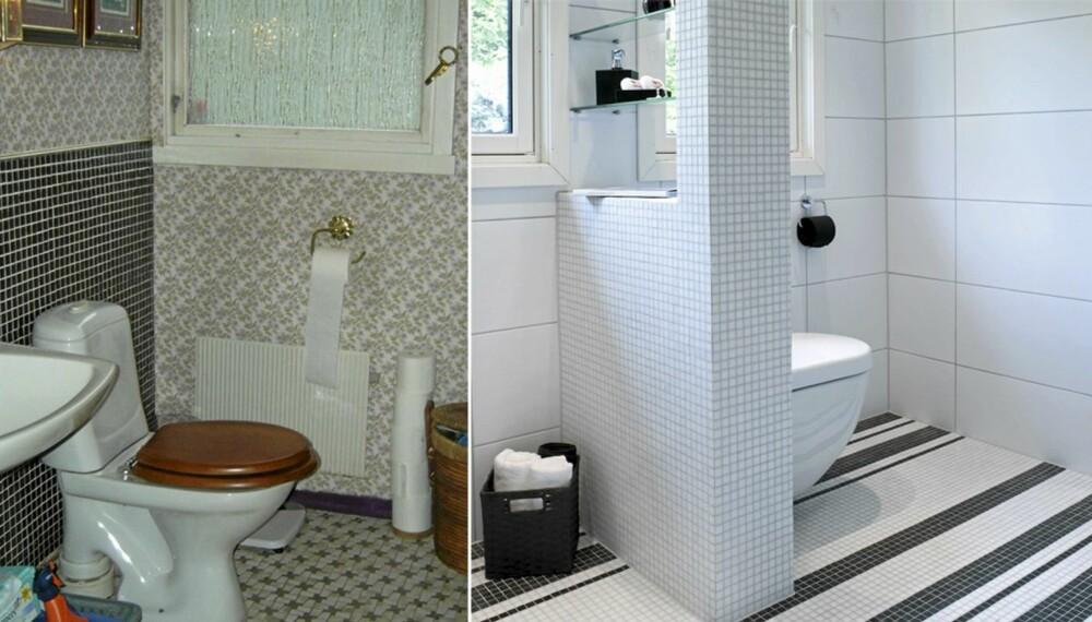 FØR OG ETTER: Bad og toalett lå tilstøtende rom og fikk både praktisk og estetisk overhaling.