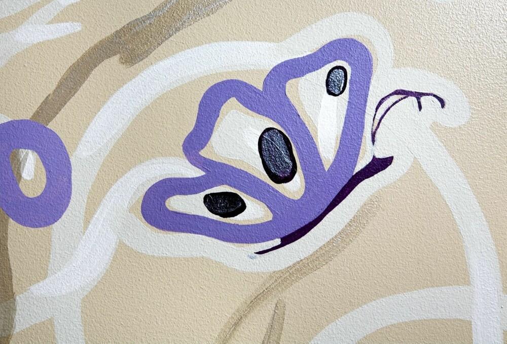 FLAGRENDE VEGG: En lett og leken dekor signert Margit Ihlebakke og Nicole Dybwad Emblem gir liv i rommet.