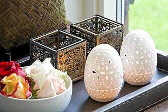 LITT MAGISK: Små, velpasserte dekor-oaser pryder rommene.