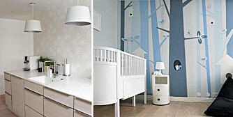 STILRENT OG KULT: Det stilrene kjøkkenet og det kule barnerommet med egendesignet tapet tiltrakk Nib jenetene til denne moderne boligen i Ski