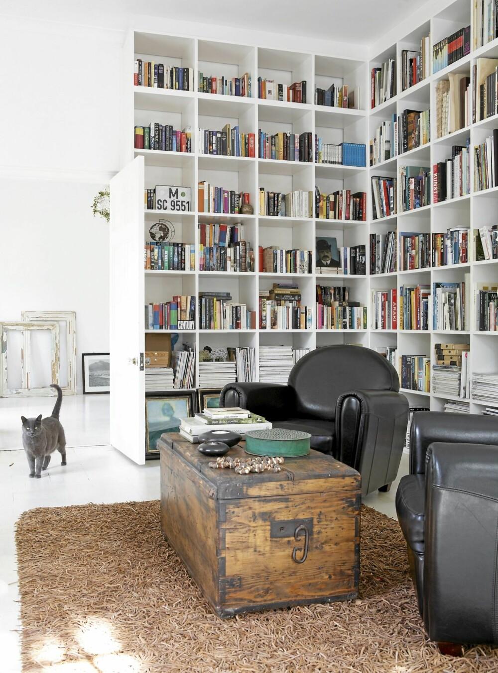 LESELYST: Med hvite vegger og glasstak er mangel på lys aldri en unnskyldning for ikke å lese en bok. De rene flatene brytes effektfullt av rå materialer representert ved en antikk kiste og det organisk fargede gulvteppet i dynamisk håndverksmessig utførelse.
