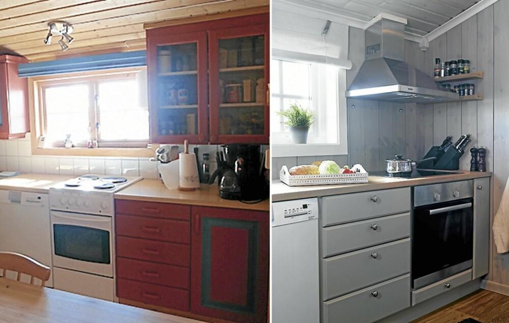 BONDEFARGER: Det gamle kjøkkenet var rødt og blått. Hytteeieren ønsket roligere farger.