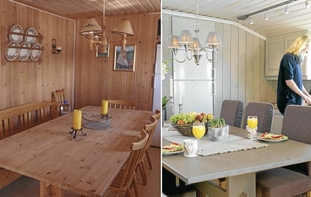 GJENBRUKSBORD: Det gamle spisebordet sto på hytta da Inger Marit overtok. Marianne hjalp henne med å slipe det ned og sette det inn med Osmo dekorvoks.