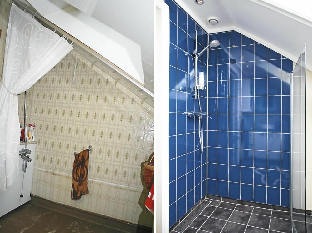 MARITIM DUSJ: I det nye dusjhjørnet er det brukt våtrom veggplater og en glassvegg som kan svinges inn mot veggen når dusjen ikke er i bruk.
