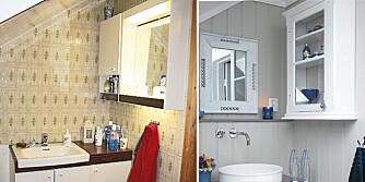 FØR OG ETTER: Det gamle 70 talls badet har blitt lyst og maritimt med moderne innslag.
