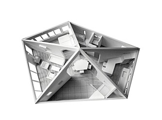 FEMKANTET: Huset har fem vegger og i midten er det et sosialt oppholdsrom