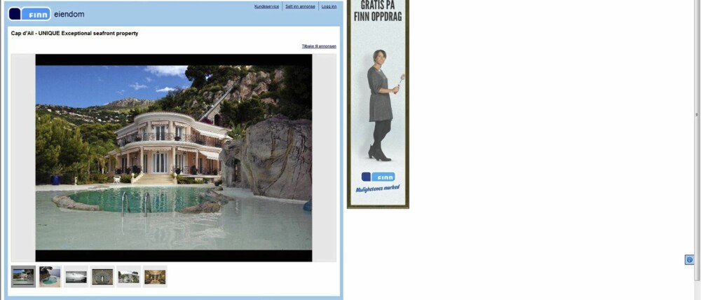 GODT LIKT: Luksusvilla på den franske rivieraen har fått aller flest klikk i 2011. Prisantydning 308 millioner kroner.