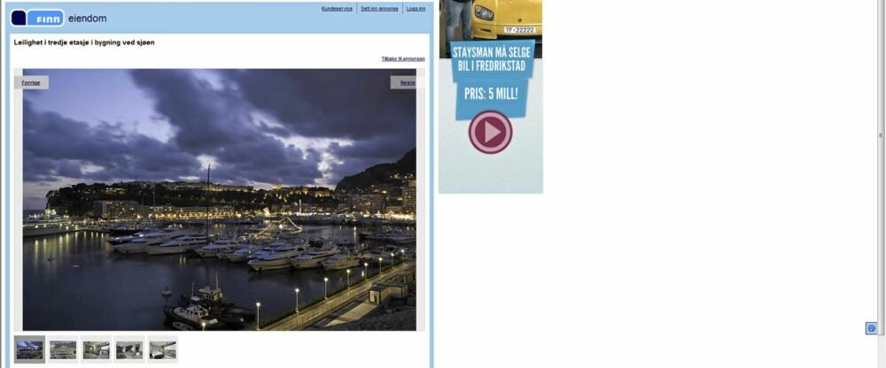 MONACO: Den fjerde mest populære boligen finner du i Monaco. Prislappen 7,5 millioner euro.