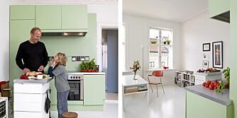 PISTASIEGRØNN FORNYELSE: Arkitektpappa Christian Dahle fikk maks særpreg ut av et standardkjøkken fra Ikea.
