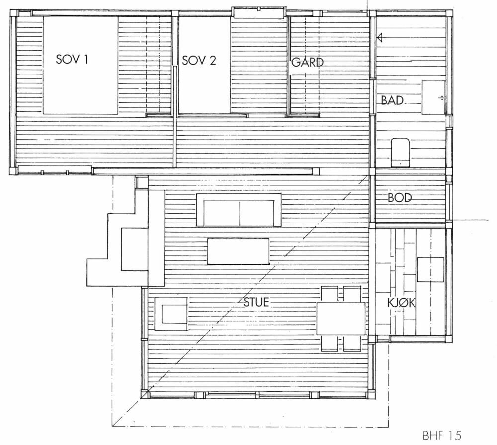 PLANSKISSE: Slik er utformingen av hytta løst.