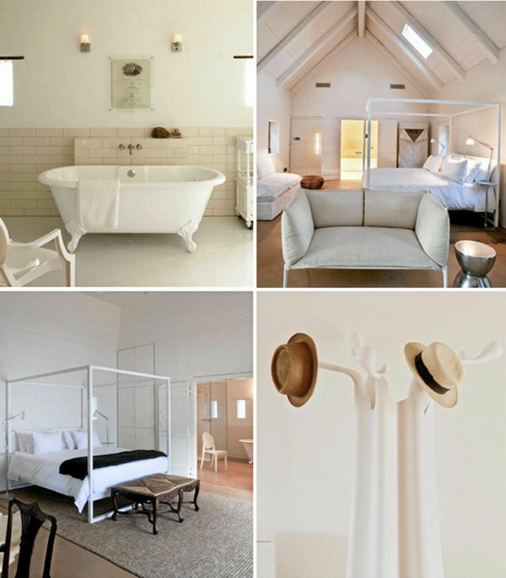LYST: Interiøret på den gamle vingården er lyst og delikat med hvitt som en gjennomgående farge.