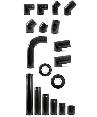 RØYKRØRENE: Røykrørene finnes i ulike lengder og utforminger. Her fra sortimentet til Jøtul Group Accessories.