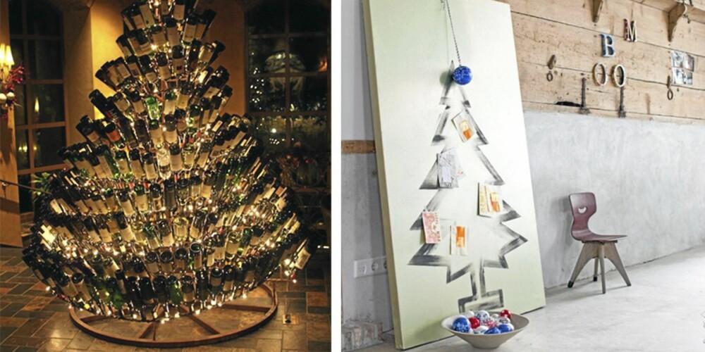 DET GÅR AN: I år kan du jo for eksempel male deg et juletre - eller lage et av julens tomme vinflasker.
