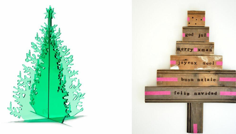 DU GRØNNE PLEKSIGLASSTRE: Disse utradisjonelle juletrærne kan selv allergikere ha i hus.