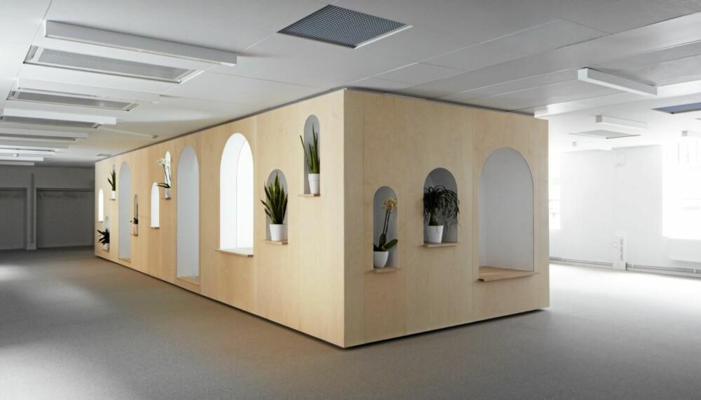 Kontorene til Netlife Research er delt opp i soner kalt hager. På bildet ser du klosterhagen, som består av tre små stillerom.