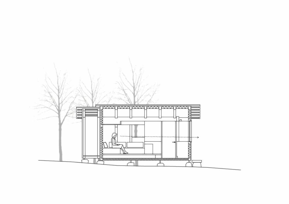 FRIHET: Fra sofabenken/soveplassen er det fri sikt ut i naturen.
