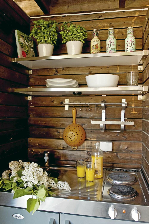 UTEKJØKKEN. Kjøkkenkroken har kjøleskap, elektriske kokeplater, kaldt og varmt vann. Her er det også  lagd praktisk plass til kjøkkenredskapene.
