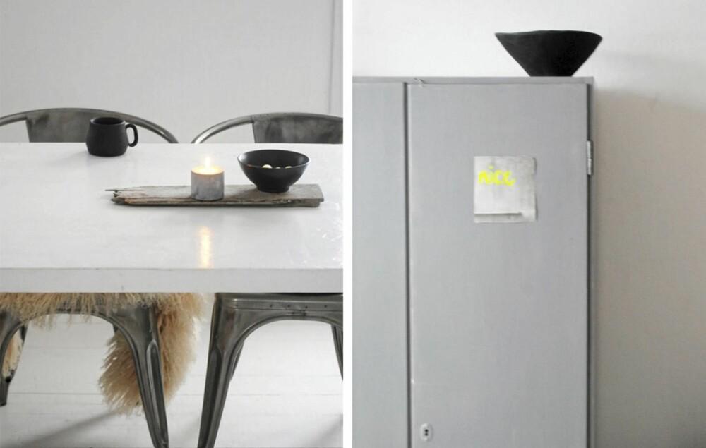 """ENKLE GREP: På bloggen Moa og kaffekoppen er det lett å la seg inspirere. Et stykke drivved på bordet, som til venstre, frisker opp. Egenkomponert, enkel """"kunst"""" spriter opp på et industrielt skap."""
