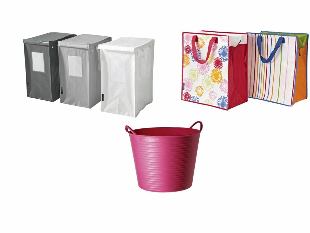 SMARTE BOKSER: (F.v) Pakke med tre bokser, kr 69, Ikea, rosa boks i plast, ca. kr 160, boxdelux.dk, og fargerike poser i plast, kr 19, Ikea.