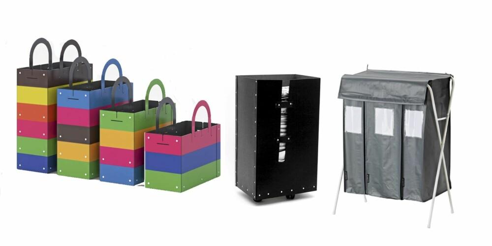 MANGE MULIGHETER: (F.v) Resirkuleringsbokser fra Muungano, fra ca. kr 130 - 200, praktisk boks for oppbevaring av aviser, kr 149, Granit, og boks med tre rom, kr 85, Ikea.