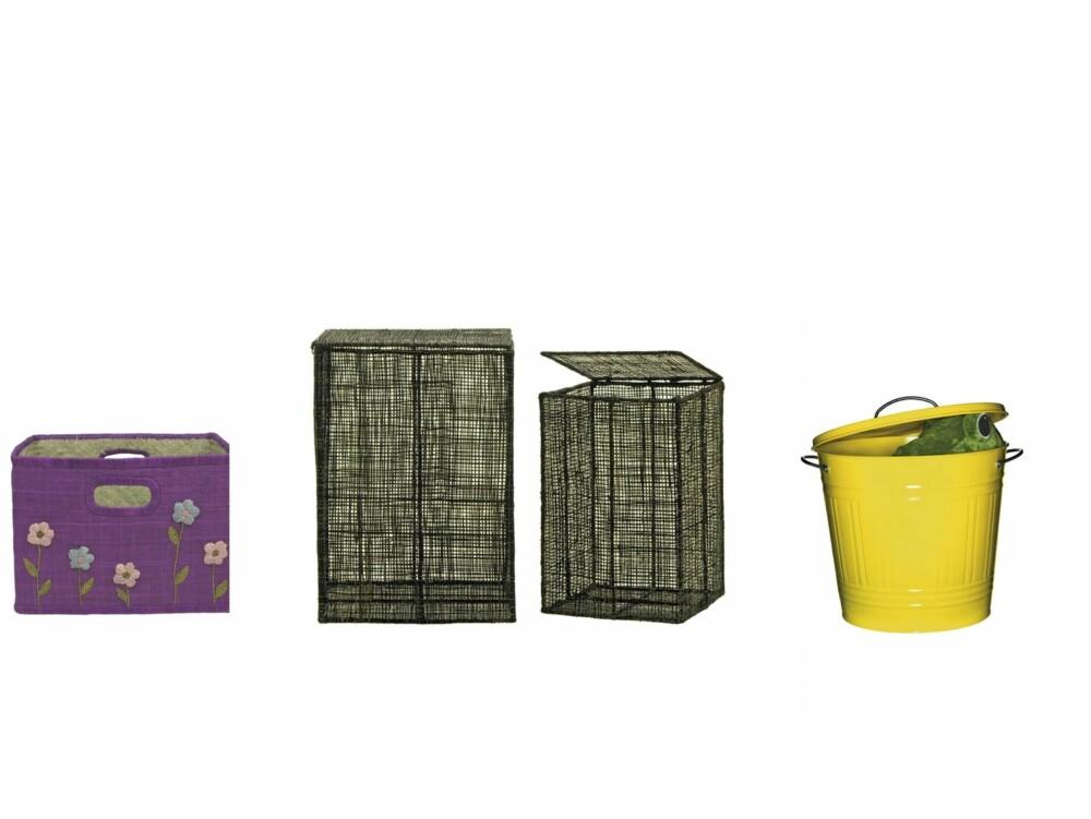 ULIKE MATERIALER: Flettet kurv med blomster, ca. kr 315, boxdelux.dk, svart boks, kr 99- 129, Granit, og gul bøtte med lokk, kr 125, Ikea.