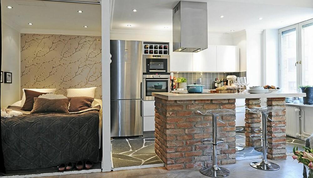 ÅPNE LØSNINGER: Leiligheten har helt åpne løsninger og en gardin fungerer som skille mellom stue og sovealkoven