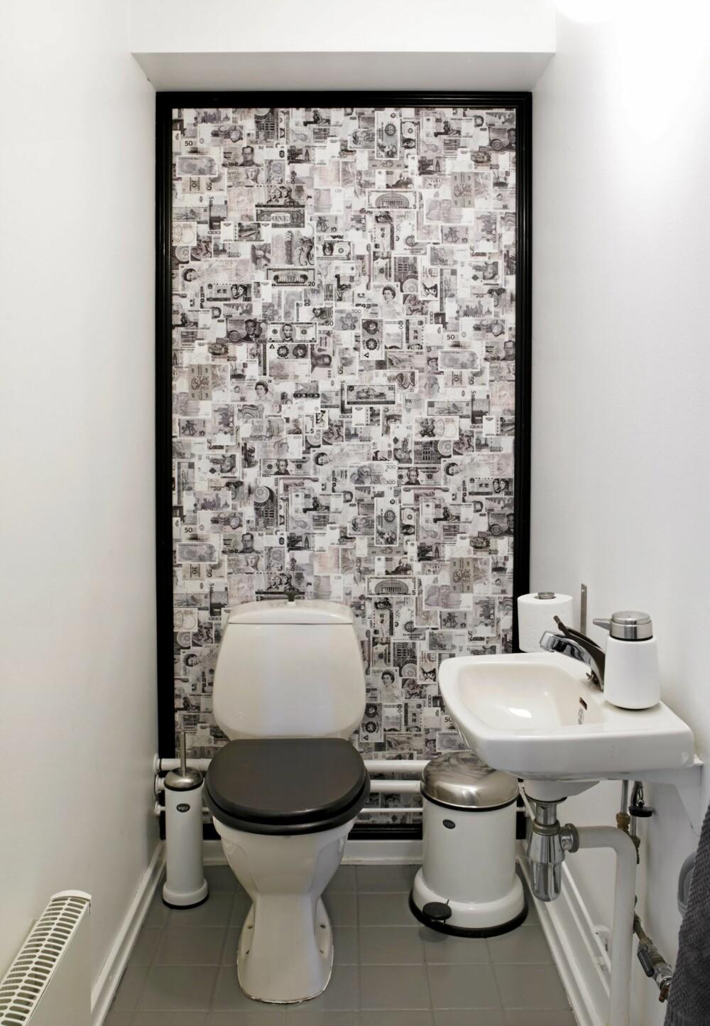 OPPUSSING PÅ SPAREBLUSS: Ved å male vegger, og lage en fondvegg av et pengeseddeltapet fra mrsperswall.no har toalettet fått en lett oppfriskning. Både klosett, servant og armatur er trolig fra åttitallet.