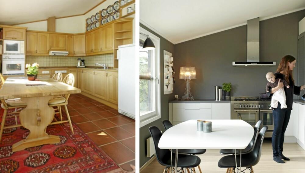 FØR OG ETTER: Kjøkkeninnredningen er byttet ut, og veggene er malt grå.