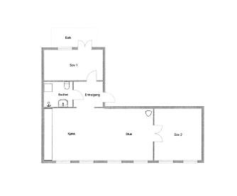 NY PLAN. I den opprinnelige leiligheten var det tre rom på rekke og rad. Ved å rive en vegg og la barna få rommet i enden av vindusrekken fikk beboerne maksimal romfølelse.