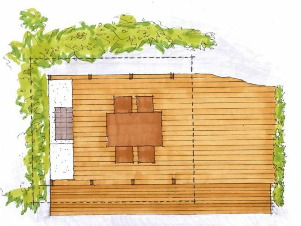 PLANEN: Konstruksjonen er enkel, men smart, med platting, oppmurt utekjøkkenløsning og tak.