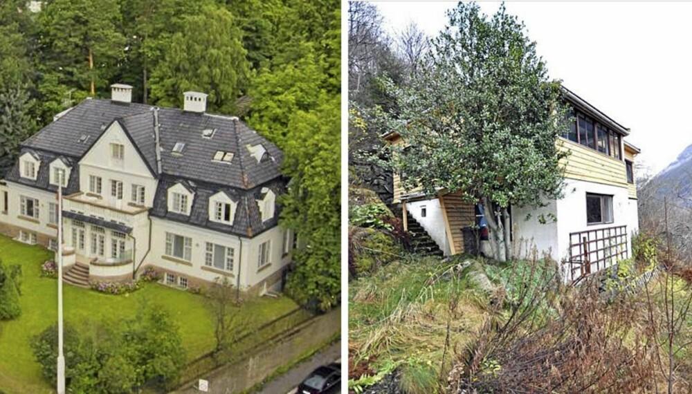 DYREST OG RIMELIGST: Landets for tiden dyreste bolig ligger på Frogner i Oslo og har en prisantydning på 39 millioner. For knappe fire promille av den pris får du et hus i åskant overfor Høyanger.