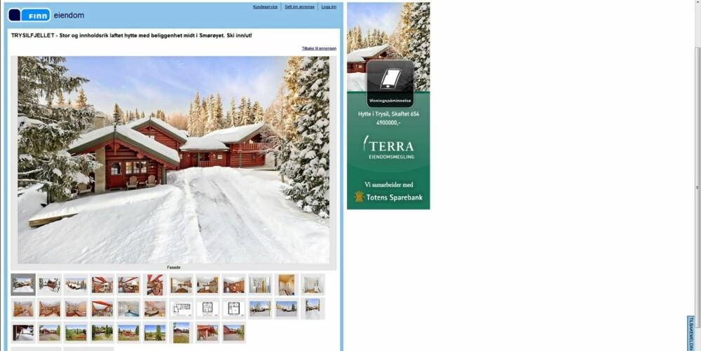 MYE TIL SALGS: Trysil var den enkeltkommunen hvor det ble solgt flest hytter i fjor. Bildet viser en hytte til salgs i Trysilfjellet i øyeblikket. Primærrom 188 kvm med 7 soverom. Prisantydning 4.900.000 kroner.