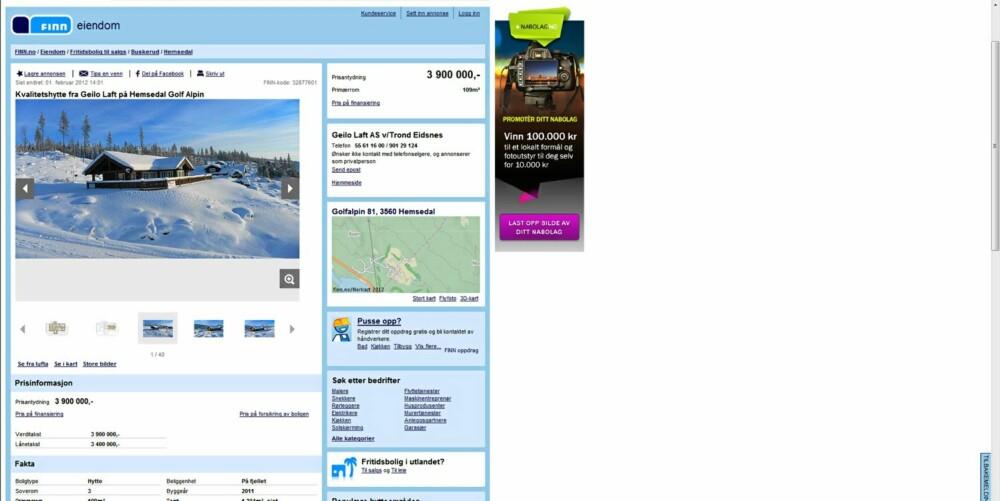 HØYE PRISER: Høyest gjennomsnittlig pris per fritidsbolig finner vi i Hemsedal med 2.647.000 kroner. Bildet viser en hytte i Hemsedal, Golf Alpin. Primærrom 109 kvm. 3 soverom. Byggeår 2011. Prisantydning 3.900.000 kroner.