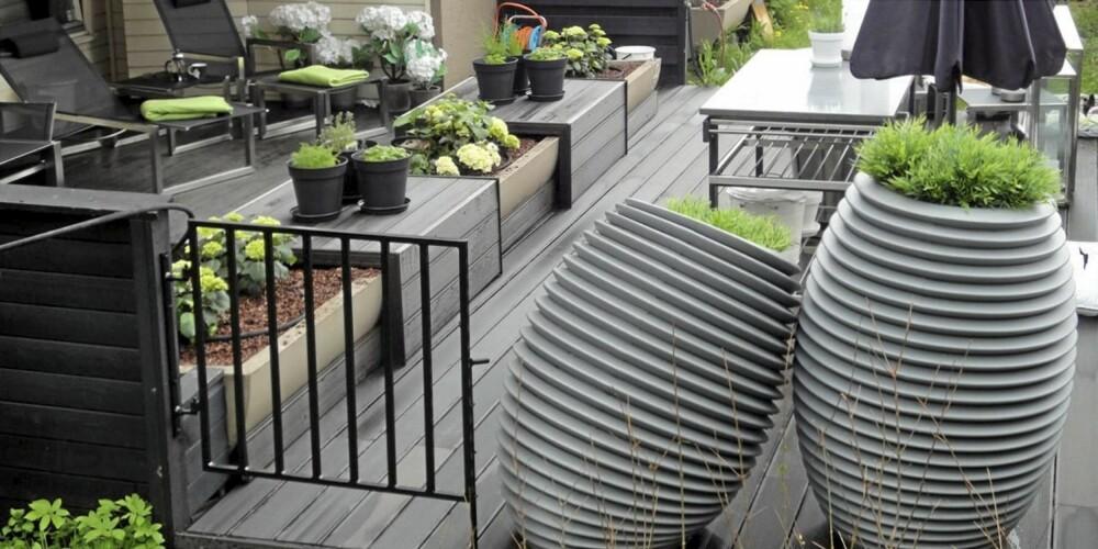 UTEROM Interiørdesigner Tove Meldgaard kledde inn betongtrauet med to sittebenker i tre og plantekasse i midten.