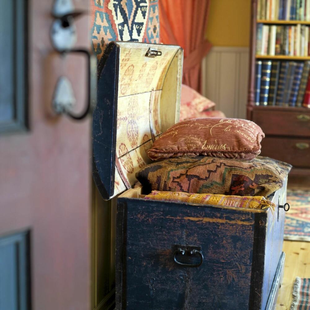 KLASSISK KISTE: Den mørkeblå kisten i stuen matsjer det fargesterke miljøet.